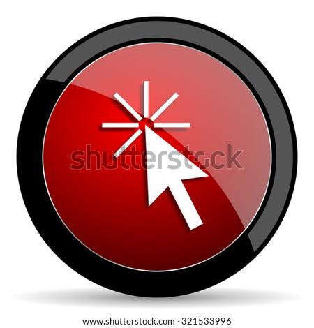 click here red circle glossy web icon on white background, round button for internet and mobile app