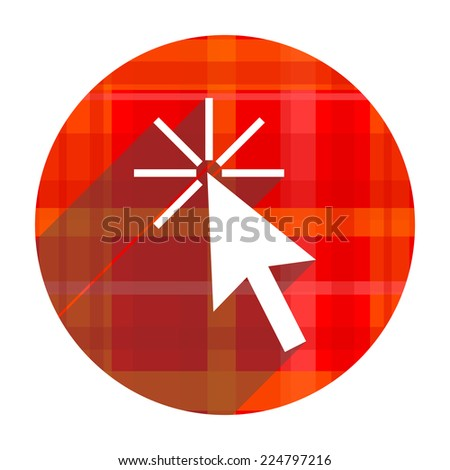 click here red flat icon isolated  - stock photo