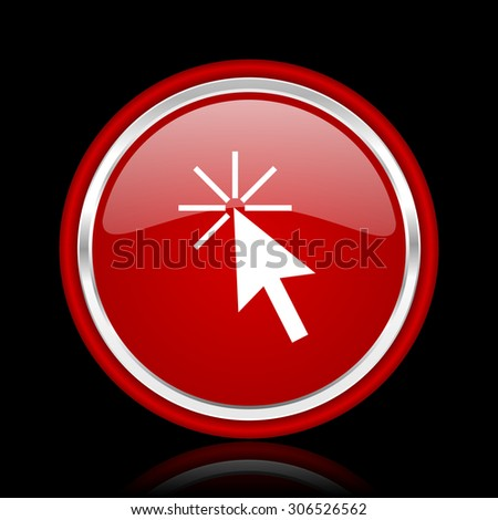 click here red glossy web icon chrome design on black background with reflection   - stock photo