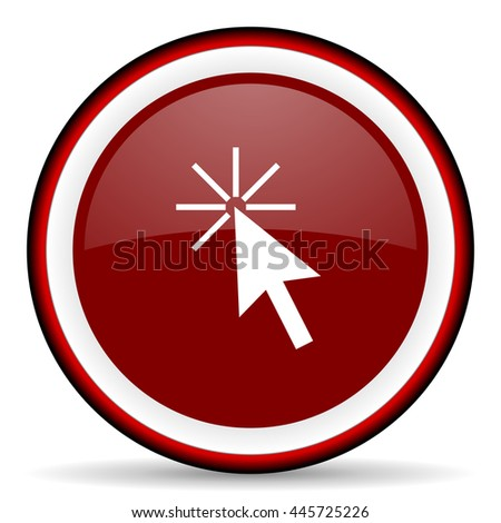 click here round glossy icon, modern design web element - stock photo