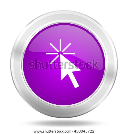 click here round glossy pink silver metallic icon, modern design web element - stock photo