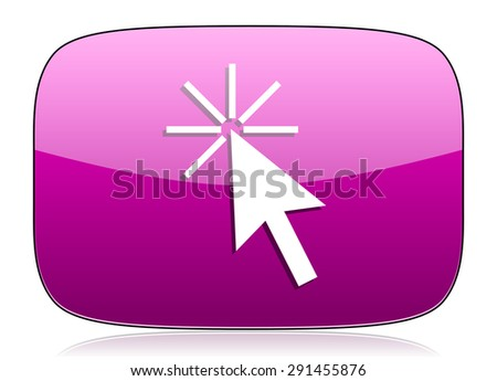 click here violet icon   - stock photo