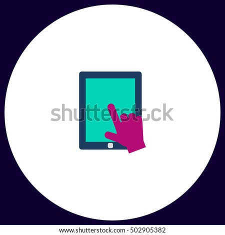 Click on the screen tablet. Flat icon on white background. Simple illustration