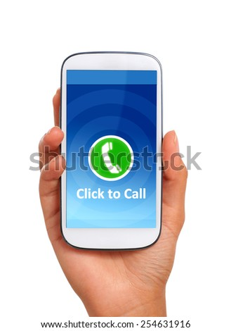 Click to call concept. Hand with phone isolated over white. - stock photo