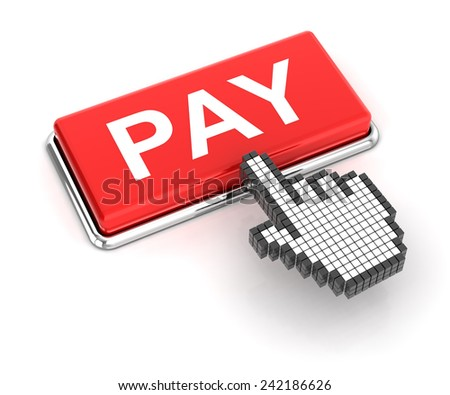 Clicking on pay button, 3d render - stock photo