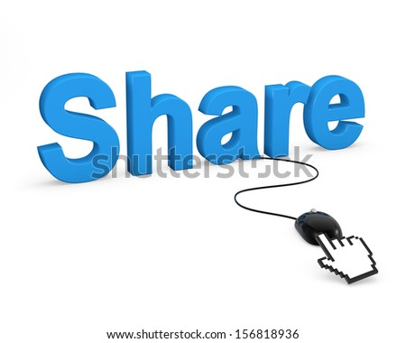 "Clicking on the word ""share"" - stock photo"