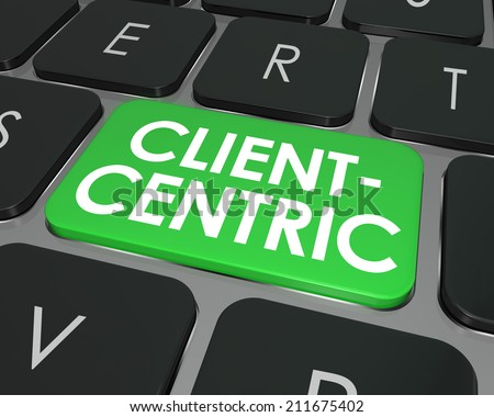 Client Centric words on green computer keyboard button for internet or online business focused on needs of customers - stock photo