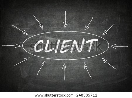 Client process information concept on black chalkboard. - stock photo