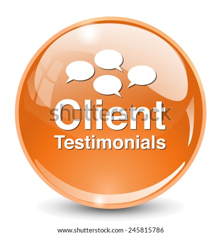 Client testimonials button - stock photo