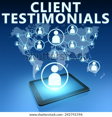 Client Testimonials illustration with tablet computer on blue background - stock photo