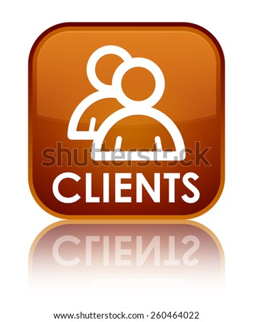 Clients (group icon) brown square button - stock photo
