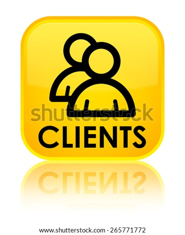 Clients (group icon) yellow square button - stock photo