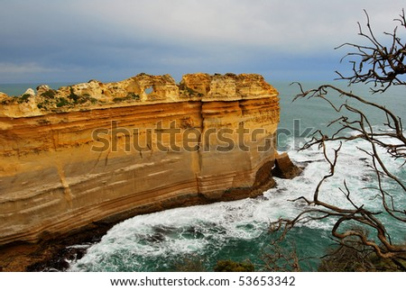 cliff and sea - stock photo