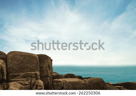 cliff and sea on thailand sea - stock photo