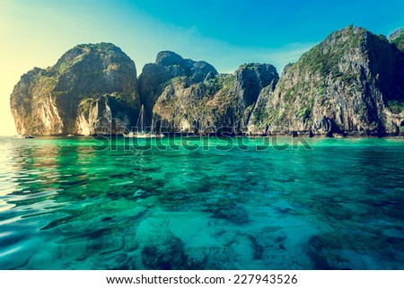 Cliff and the clear sea Phi Phi Leh south of Thailand - stock photo