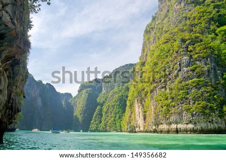 Cliff and the clear sea Phi Phi Leh Thailand - stock photo