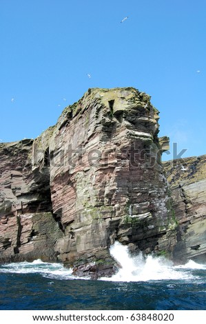 Cliff at Bressay Island near Lerwick, Shetland Islands, Scotland, UK. - stock photo