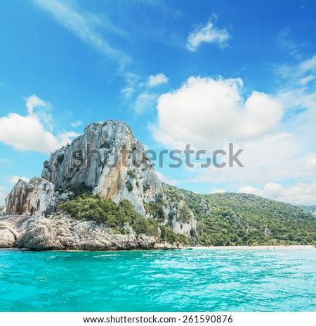 cliff by the Orosei Gulf shoreline. Shot in Sardinia, Italy - stock photo