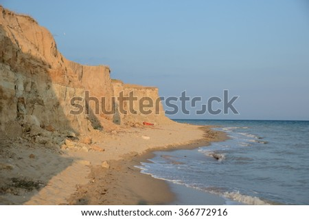 Cliff by the sea in sunset in northwest Turkey - stock photo