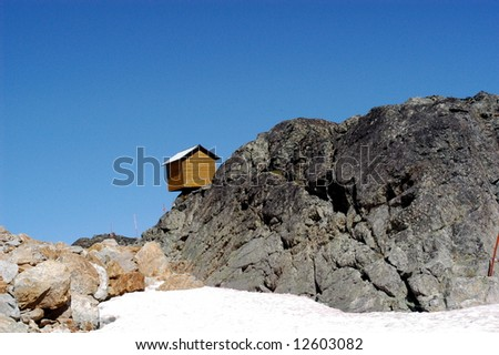 cliff cabin at whistler bc - stock photo