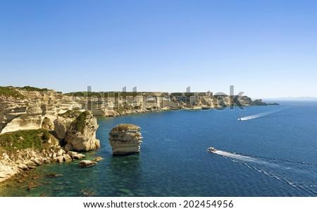 Cliff in the Bonifacio, Corsica. - stock photo
