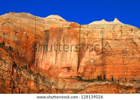 Cliff known as the Streaked wall of Zion National Park in Utah - stock photo