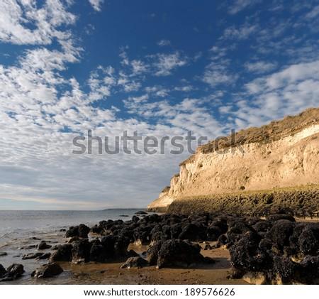 Cliff on Punta Cuevas, Puerto MADRYN, Chubut, Argentina.   - stock photo