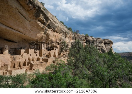 Cliff Palace at Mesa Verde National Park in Mesa Verde, Colorado - stock photo