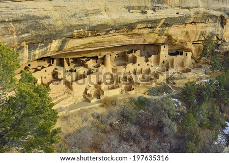 Cliff Palace in Mesa Verde National Park, Colorado in winter - stock photo