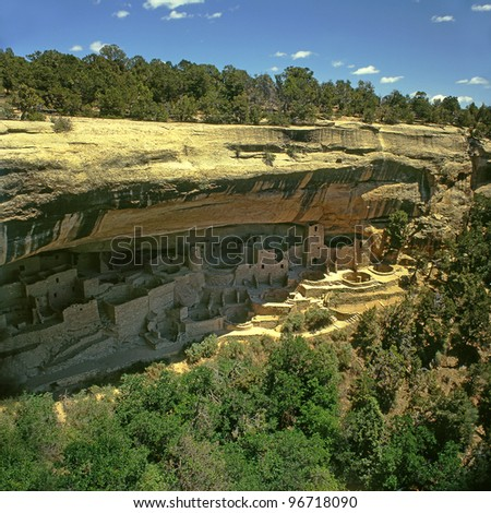 Cliff Palace in Mesa Verde National Park, USA, Colorado, World Heritage Site by UNESCO - stock photo