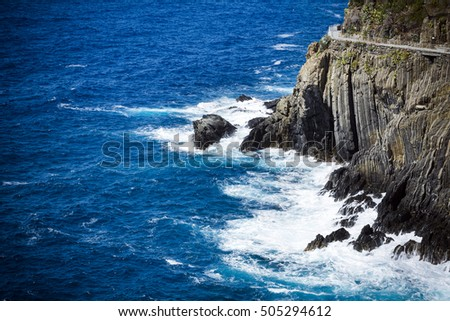 Cliff path and sea in Cinque Terre Italy