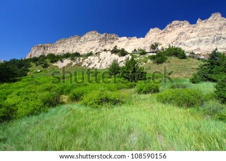 Cliff Shelf in Badlands National Park of South Dakota - stock photo