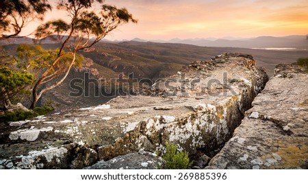Cliff top views at sunset in the Grampians National Park, Australia - stock photo