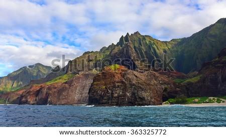 Cliffs along Na Pali Coast of Kauai Island, Hawaii - stock photo