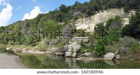 Cliffs along the Paluxy River in Dinosaur Valley State Park, Texas - stock photo