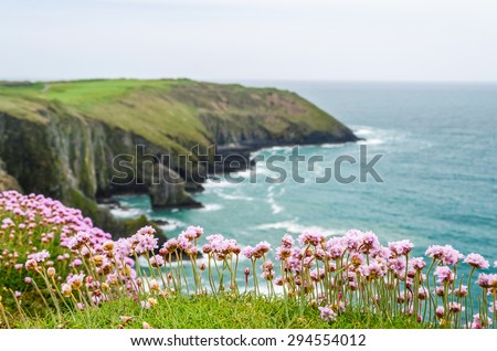 Cliffs and blueocean, Ireland - stock photo