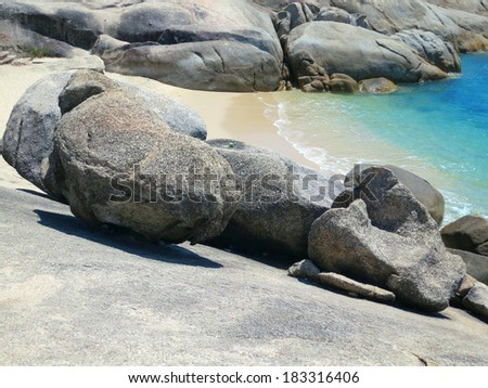 Cliffs and rocks at the beach of  Koh Samui, Thailand