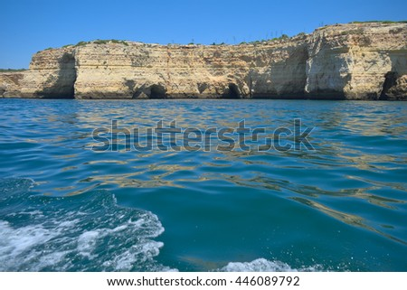 Cliffs and sea along the coast of Carvoeiro, in Algarve, Portugal