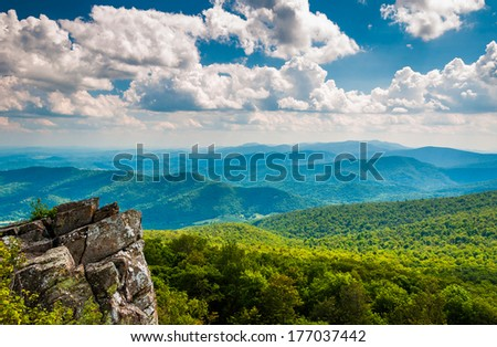 Cliffs and view of the Blue Ridge Mountains from North Marshall, Shenandoah National Park, Virginia. - stock photo