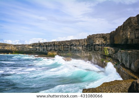 Cliffs and waves in Inishmore, Aran Islands, Ireland