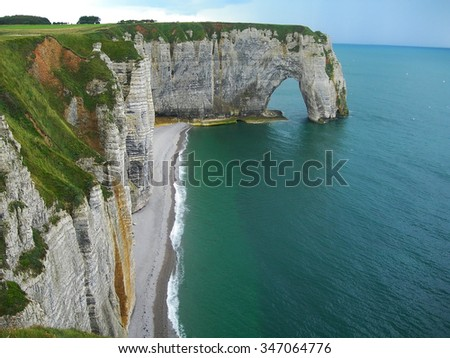 Cliffs at Etretat in Normandy France - stock photo