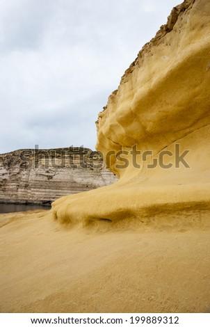 Cliffs at the coast of Malta - stock photo