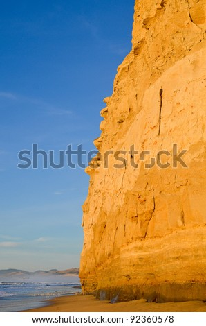 Cliffs by the Ocean in California - stock photo