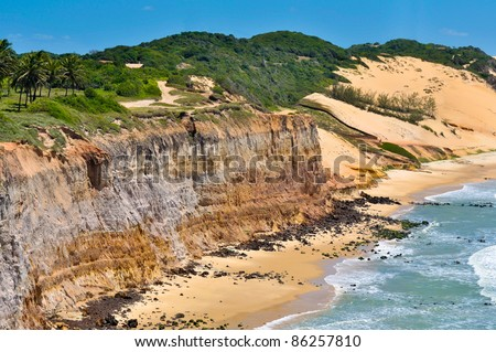Cliffs near Natal city - Brazil - stock photo