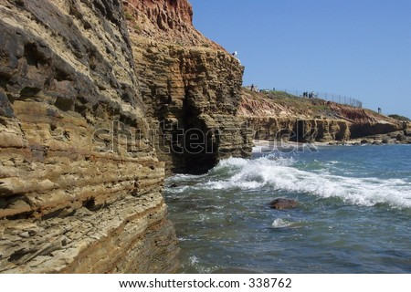 Cliffs near the tide pools in Cabrillo National Monument in San Diego, CA. - stock photo