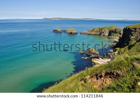 Cliffs of Carrick A Rede in Northern Ireland - stock photo