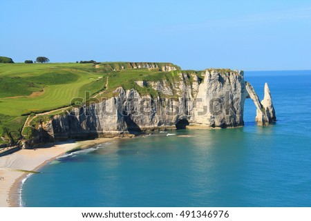 Cliffs of Etretat, the french norman town