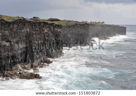 Cliffs of Holei Pali, Hawaii Volcanoes National Park (USA) - stock photo