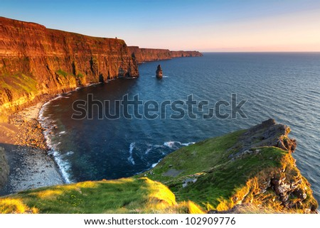 Cliffs of Moher at sunset - Ireland - stock photo