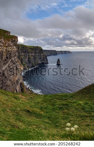 Cliffs of Moher, Ireland: view on the Atlantic Ocean - stock photo